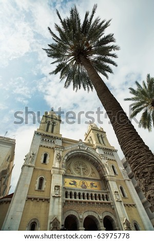 Tunisia: Cathedral of St. Vincent de Paul, Tunis - stock photo