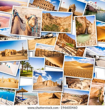 Tunisia Collage. Parts of the country.  - stock photo