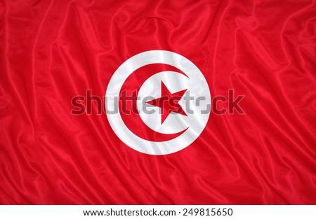 Tunisia flag pattern on the fabric texture ,vintage style - stock photo