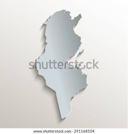 Tunisia map white blue card paper 3D raster - stock photo