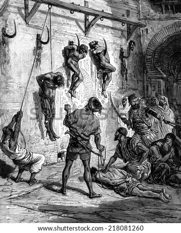 Tunisia. Some were thrown naked on iron hooks attached to walls, vintage engraved illustration. Journal des Voyage, Travel Journal, (1880-81). - stock photo