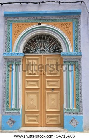 tunisian door full of colors - stock photo