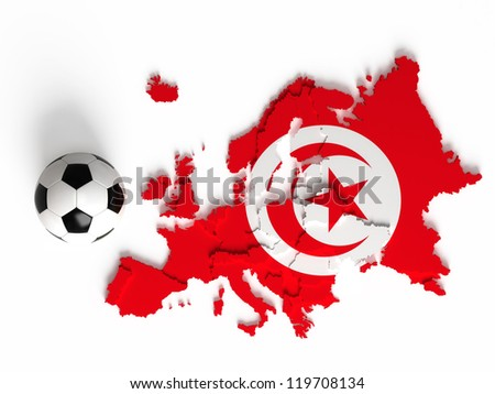 Tunisian flag on European map with national borders, isolated on white background