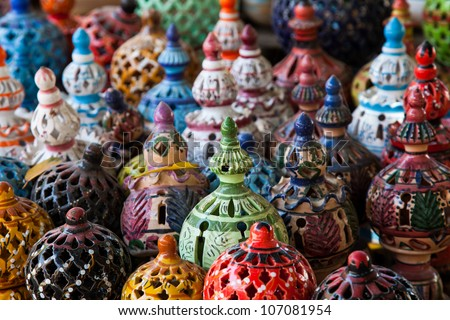 Tunisian Lamps at the Market in Djerba Tunisia detail - stock photo