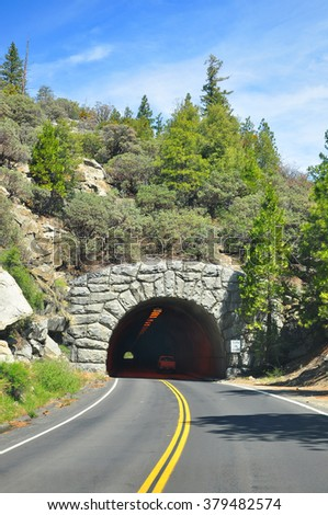 Tunnel along the way  to Yosemite Valley, California, USA - stock photo