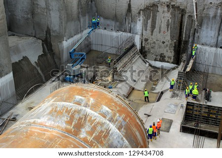 Tunnel boring machine on construction site building metro - stock photo