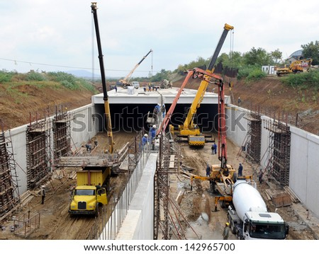tunnel construction - stock photo