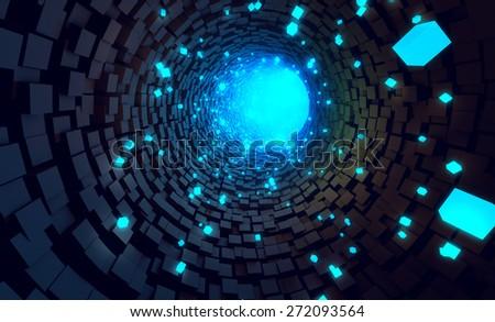 Tunnel data transfer technology background - stock photo