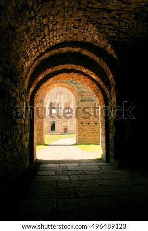 Tunnel in an ancient castle.