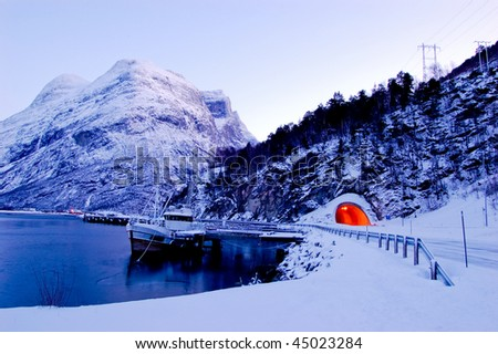 Tunnel in Norway - stock photo