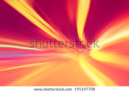 Tunnel lights acceleration speed motion blur. Vintage filter effect used. Motion blur visualizes the speed and dynamics. - stock photo