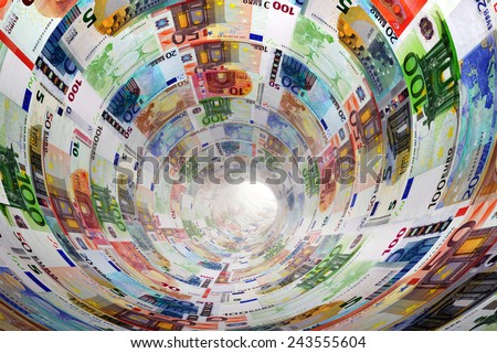 Tunnel of Euro banknotes towards light. The currency, money concepts for way to success, profit, banking etc. - stock photo
