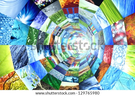 Tunnel of images - stock photo