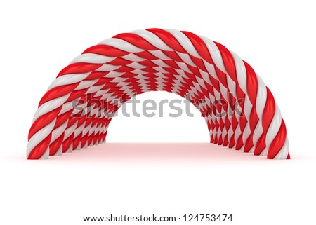 Tunnel of red-white spiral arches on the white background - stock photo