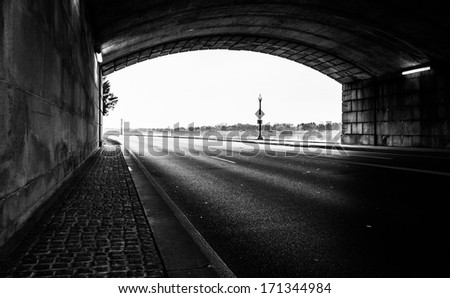 Tunnel on a road along the Potomac River in Washington, DC. - stock photo