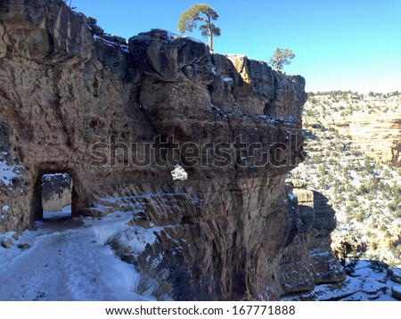 Tunnel on Bright Angel Trail in Grand Canyon National Park in Arizona - stock photo