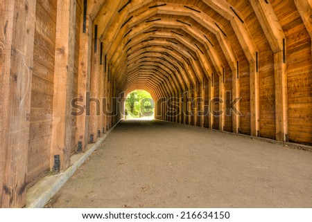 Tunnel on the Columbia River Gorge Highway near Portland Oregon - stock photo
