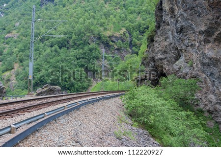 Tunnel on the railway track (Flamsbana, Norway)