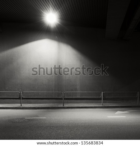 Tunnel road area with spotlight - stock photo
