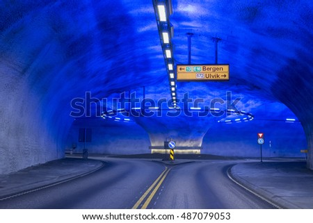 Tunnel roundabout in Laerdal in Norway