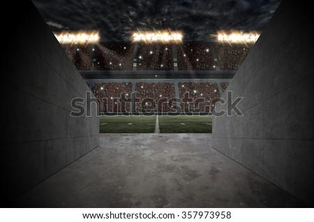 Tunnel to a football Stadium. - stock photo