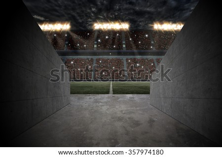 Tunnel to a rugby Stadium. - stock photo