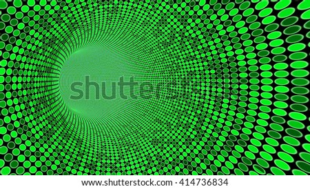 Tunnel towards a shining light with a texture of random green circles in green 3D illustration - stock photo
