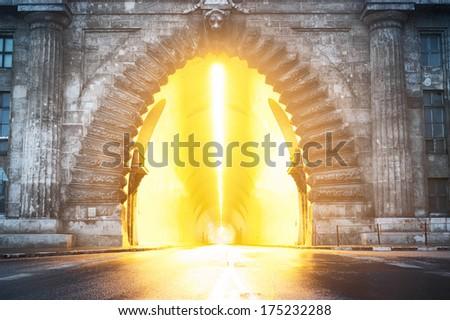 Tunnel under Buda palace in Budapest, Hungary. - stock photo