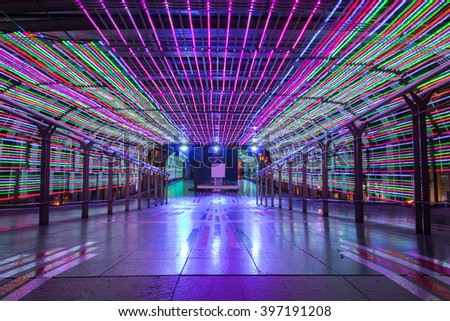 Tunnel walkway adorned with the LED - stock photo