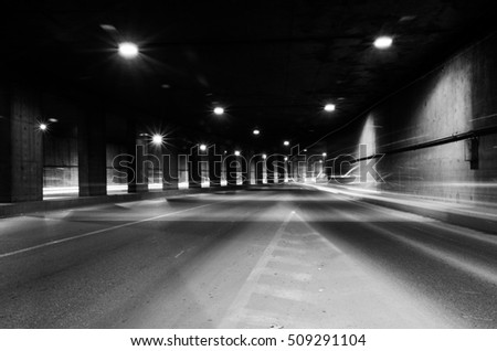 Tunnel with moving lights