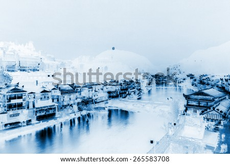 Tuojiang River both banks night scenery on April 15, 2012, Phoenix County, Hunan Province, China  - stock photo