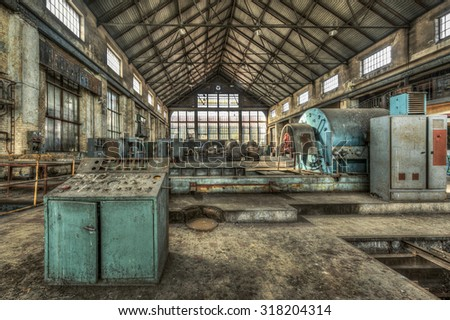 Turbine hall in an abandoned power plant, HDR