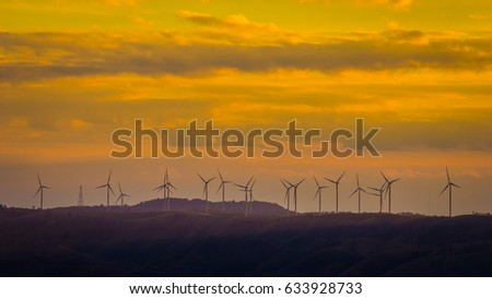 Turbine in sunset time.