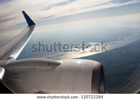 Turbine of airplane - stock photo