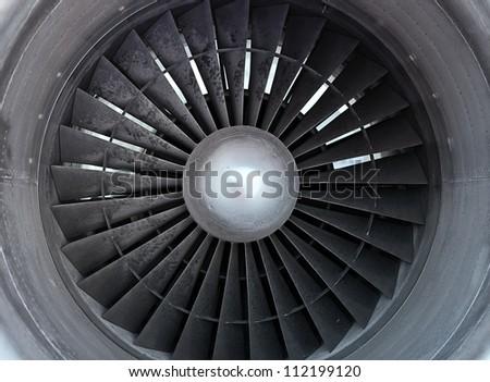 Turbine of airplane, closeup - stock photo