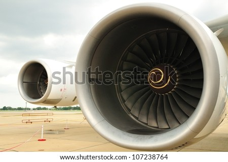 Turbine of an airplane - stock photo