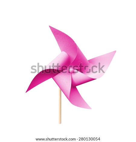 Turbine pink paper isolated on white background. This has clipping path.  - stock photo
