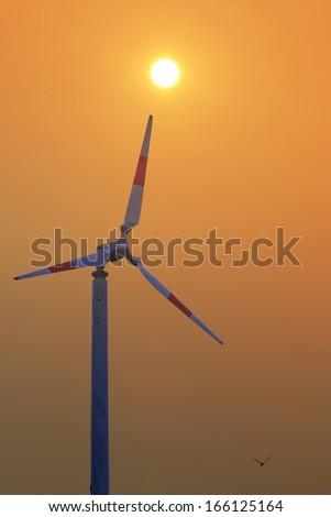 Turbine producing renewable energy at Thailand,Wind turbines - stock photo