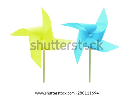 Turbine sky blue paper isolated on white background. This has clipping path.  - stock photo