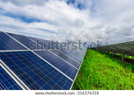 Turbines and solar panels. Green energy Wind