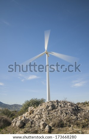 Turbines in the southern sierra mountains of Seville Andalusia Spain - stock photo