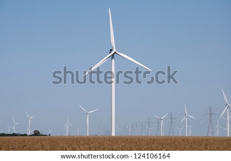 Turbines on a wind farm. - stock photo