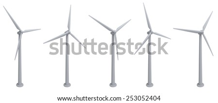 turbines wind turbines isolated on white background - stock photo