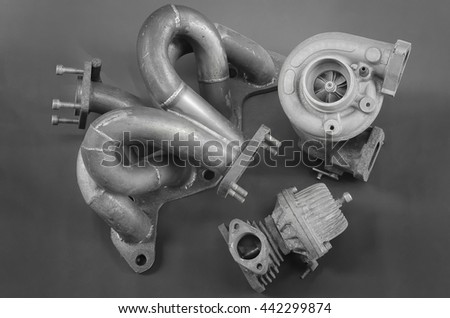 Turbo-charger kit on car engine