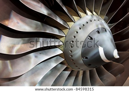 Turbo-jet engine of the plane - stock photo