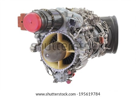 turbo jet engine under the white background - stock photo