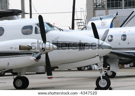 Turbo props on a twin engine airplane - stock photo
