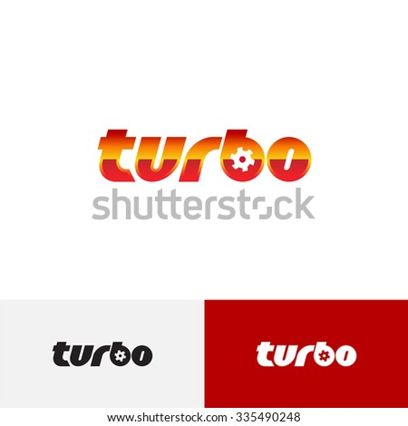 Turbo word text logo with turbine charger fan - stock photo