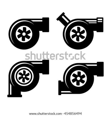 Turbocharger Icons Set Isolated on a White Background.  - stock photo
