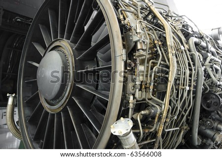 Turbofan jet engine under inspection
